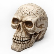 Oversized Large Celtic Skull Head Garden Statue Cold Cast Resin Figurine - £48.76 GBP