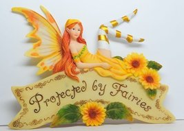 8.25 Inch Protected By Fairies Hanging Wall Plaque Statue Figurine by PTC - £14.99 GBP