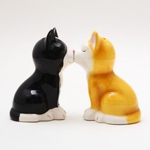 Cute Kitten Cat Figurines Ceramic Salt & Pepper Shakers.magnetic Attache... - $11.88