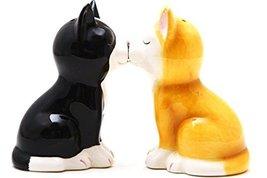 Hand Painted Ceramic Magnetic Salt and Pepper Shaker Set- Kittens - $10.40