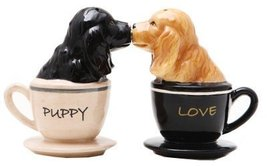 Pacific Trading Kissing Cocker Spaniel Pups in Tea Cups Magnetic Salt an... - $10.69