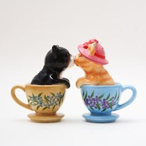 Pacific Giftware Kissing Kittens Cats in Tea Cup Magnetic Salt and Peppe... - $10.10