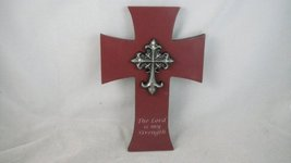 9.5 Inch Lord Is My Strength Metal Embellished Cross Statue Figurine - $20.59