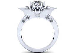 Skull Engagement Ring Bat Wing Temple of the An... - $999.00