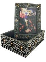 4.75 Inch Saint Michael Inlayed Religious Jewelry/Trinket Box Figurine - $21.88
