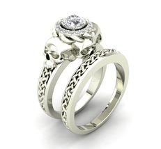 Skull Engagement Ring Set in White Rhodium Over - $279.00
