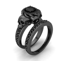 Black Gold Skull Engagement Ring Temple of the ... - $899.00