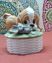 Vintage Lund LIte Candle Bisque Porcelain Puppy Dog Container Candle - $10.50