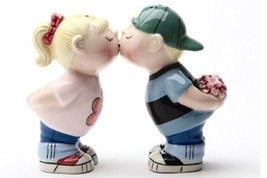 First Kiss First Date Salt & Pepper Shakers Set S/P by Pacific Trading - $10.10