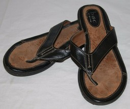 B.O.C. Born Concept BOC Black Leather Thong Flip Flops Womens Sandals 9 40.5 - $34.06