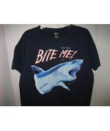 "MEN'S GRAPHIC NAVY BLUE FLORIDA 'Bite Me"" Shark Themed 100% Cotton T-shi... - $55.00"