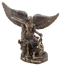 5 Inch Small Saint Michael with Sword Drawn Resin Statue Figurine - £14.63 GBP