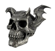 PTC Pacific Giftware Skeleton Skull with Devil Style Wing Horns Statue F... - £17.95 GBP