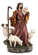 "9586 8"" Parable of The Lost Sheep Shepard Religious Statue Figurine - $25.25"