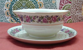 Vintage Chateau China Czechoslovakia China Floral Design Gravy Boat With... - $14.50