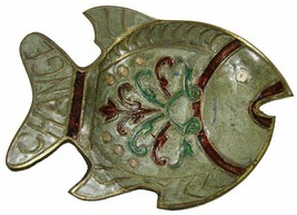Pocket Change Brass Enamel Fish Key Holder Dish Trinket Bowl Indian 16 x... - $12.30