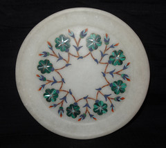 "6"" White Decorative Marble Plate Malachite Floral Mosaic Handmade Inlaid Decor - $45.85"