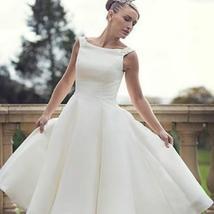 60s Vintage Short Tea Length Neck Satin Wedding Gown image 1