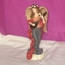 "Angel Lady Woman w Flower Wreath in Hair Playing Musical Instrument 10"" ... - $24.74"