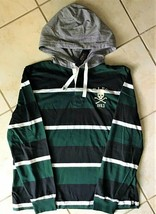 """Ralph Lauren Embroidered  """"RLFC 1923 Skull"""" Striped Rugby Hooded T-Shirt  XL - $46.53"""