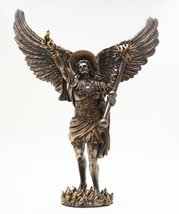 12.75 Inch Archangel Uriel with Spear Religious Resin Statue Figurine - $50.49