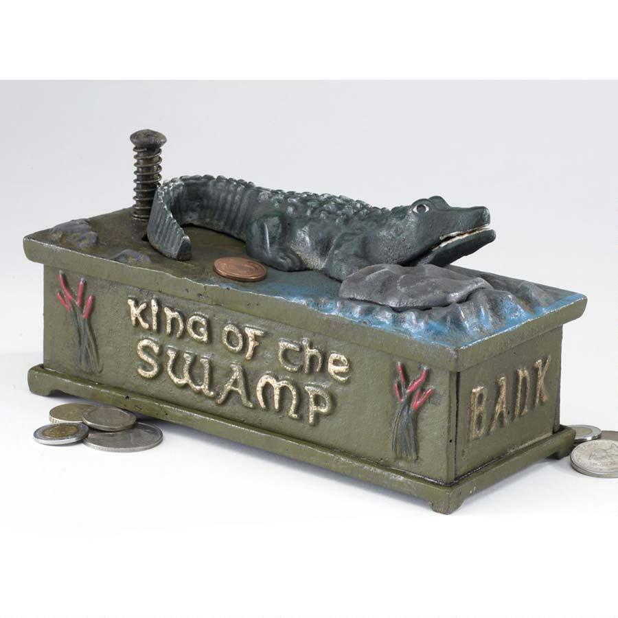 Die Cast Iron King of the Swamp Alligator Antique Replica Mechanical Coin Bank