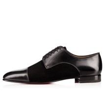 Handmade Men's Black Two Tone Leather And Suede Oxford Shoes image 1