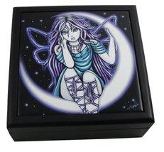 5 Inch Venus Purple Fairy Wooden Tile Jewelry/Trinket Box Figurine - $16.73