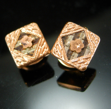 Antique Victorian Stud Cufflinks Button Floral Men's Fine Jewelry rose gold hing - $125.00