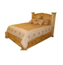 Rustic Mansion Bed with Storage Under With Star Real Wood Cabin Lodge We... - $1,187.99+