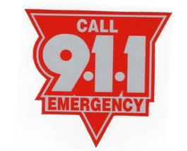 """Emergency Call 911 Highly Reflective Vehicle Decal 10"""" - Red And Silver - $27.67"""
