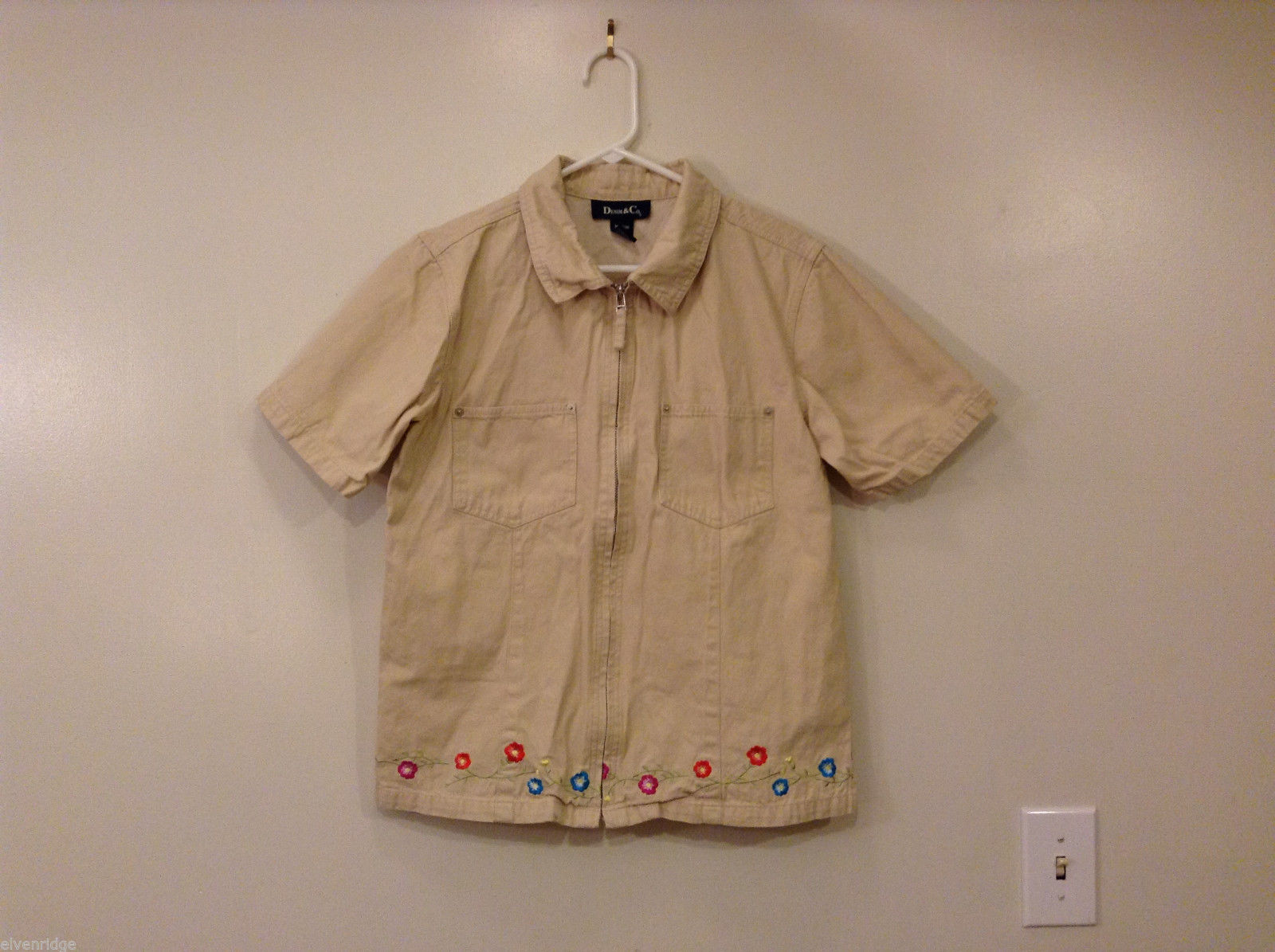 Denim & Co. Women's Size M Shirt w/ Embroidery 100% Cotton Beige Short Sleeves