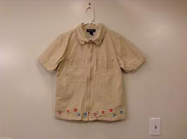 Denim & Co. Women's Size M Shirt w/ Embroidery 100% Cotton Beige Short Sleeves