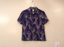 Notations Women's Size Petite S Button-Down Shirt Short-Sleeve Blue & Gray Print