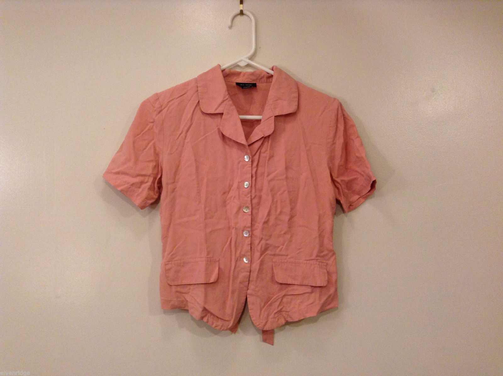 Silk House Women's Size Petite S Shirt Dusty Rose Pink Button-Down Short Sleeves