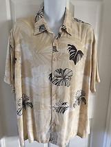 CUBAVERA MEN'S XL Ivory/Brown HAWAIIAN FLORAL SHORT SLEEVE BUTTON UP CAM... - $18.54