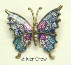 Vintage Brass Butterfly Brooch Pin Pink Blue Enamel Glitter - $5.99