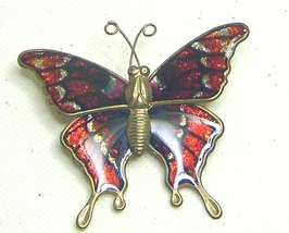 Vintage Glitter Red & Silver Enamel Brass Butterfly Pin Brooch - $7.99