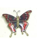 Vintage Glitter Red & Silver Enamel Brass Butterfly Pin Brooch - $7.99