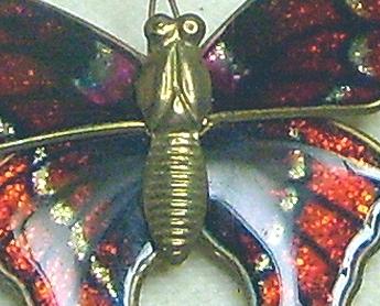 Vintage Glitter Red & Silver Enamel Brass Butterfly Pin Brooch