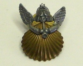Vintage Pewter Angel and Brass Shell Tac Pin - $3.49