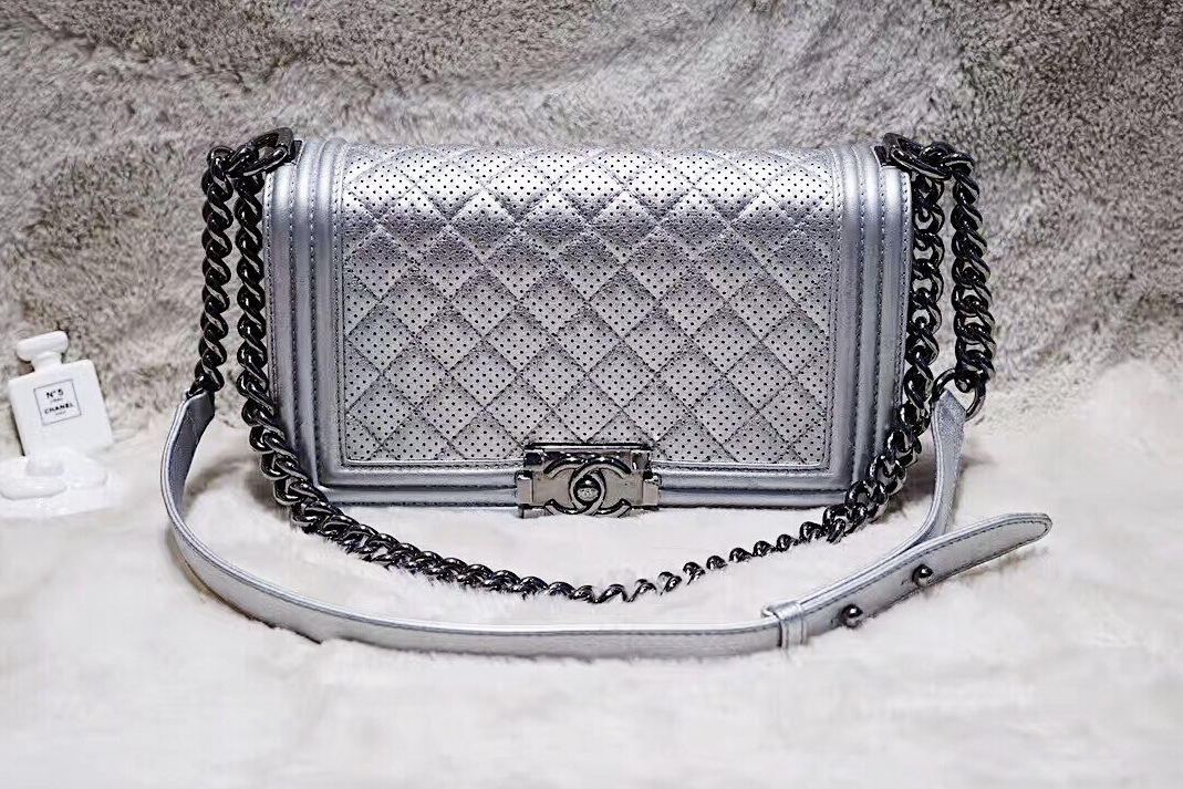 AUTH CHANEL LIMITED EDITION METALLIC SILVER PERFORATED LAMBSKIN MEDIUM BOY BAG