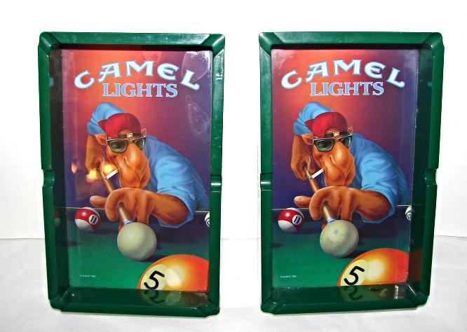 RJR 1992 Camel Lights--Joe Cool Playing Pool on Pool Shaped Ashtray-two(2)
