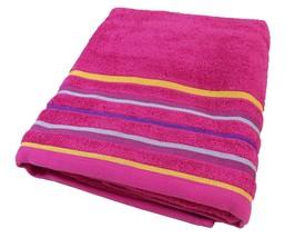 STRIPE BRIGHT FRESH COTTON PINK ORANGE ABSORBANT BEACH TOWEL 75 X 150CM - $24.84