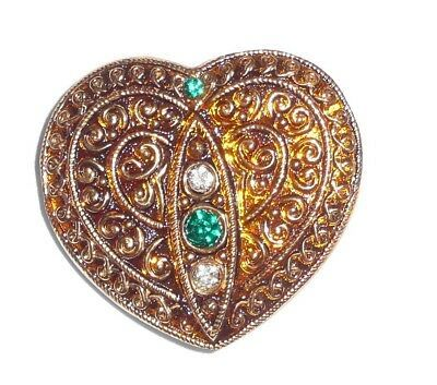 Primary image for Yellow Gold Heart w/Gold Finish + 4 Rhinestones Czech Glass Button 32x35mm