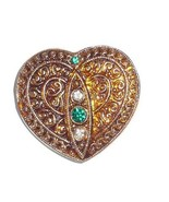 Yellow Gold Heart w/Gold Finish + 4 Rhinestones Czech Glass Button 32x35mm - $7.42