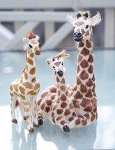 "Brown & White Sculpture Giraffes,Mother & Sons, 9"" or 23cm High W/Rabbit... - $24.49"