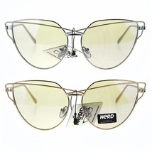 Nerd Cat Eye Metal Rim Light Color Lens Retro Sunglasses - $12.95