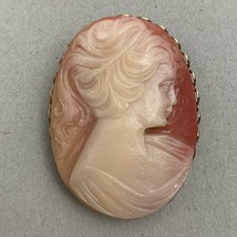 Vintage Cameo Brooch Pin Oval Resin Or Plastic Gold Tone Lady Portrait W... - $15.80