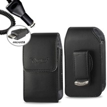 Black Leather Vertical Case & Car Charger fits LG Aristo 2 with a cover ... - $19.79